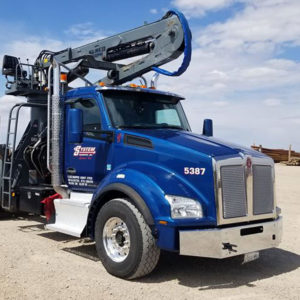 Pole Haul Flatbed Truck With Boom